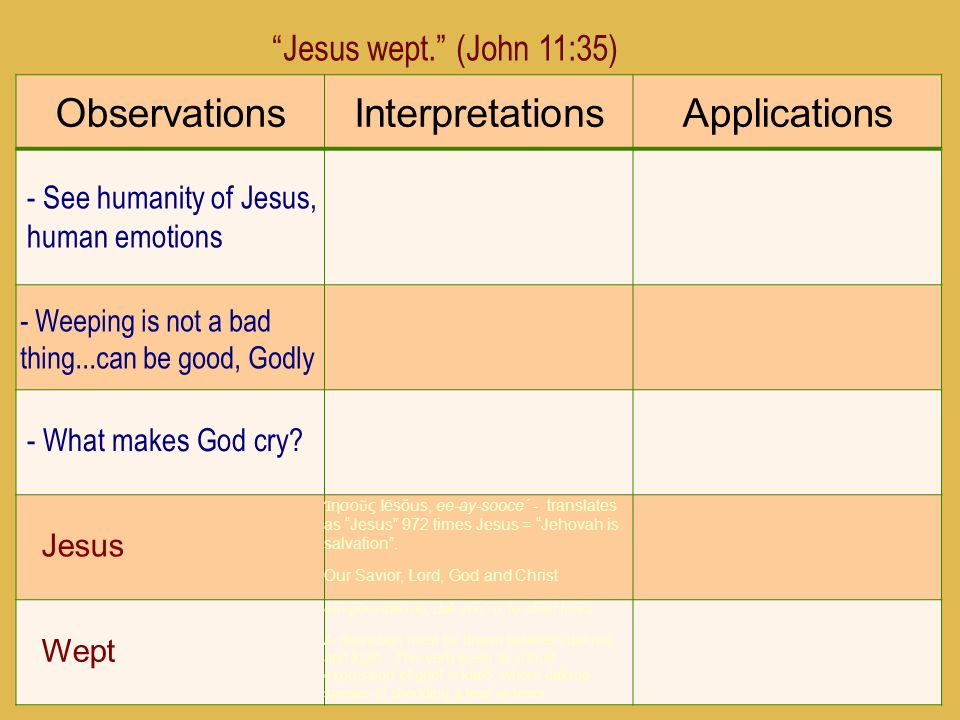 14 ObservationsInterpretationsApplications Jesus wept. (John 11:35) - See humanity of Jesus, human emotions - Weeping is not a bad thing...can be good