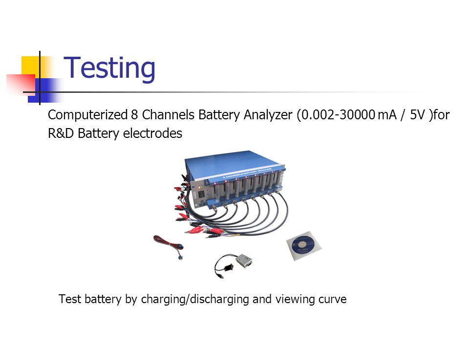 Testing Computerized 8 Channels Battery Analyzer (0.002-30000 mA / 5V )for R&D Battery electrodes Test battery by charging/discharging and viewing cur