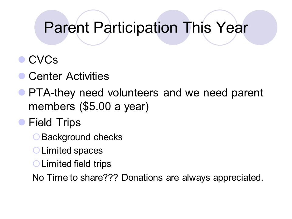 Parent Participation This Year CVCs Center Activities PTA-they need volunteers and we need parent members ($5.00 a year) Field Trips Background checks Limited spaces Limited field trips No Time to share .