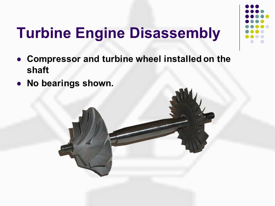 Turbine Engine Disassembly Compressor and turbine wheel installed on the shaft No bearings shown.