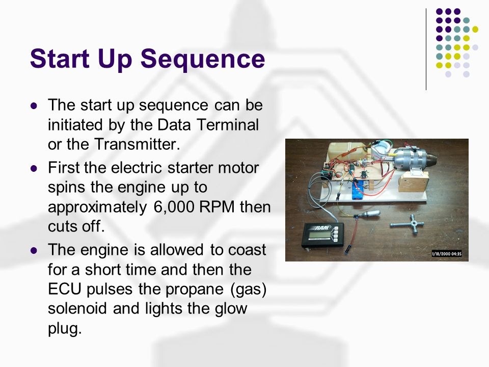 Start Up Sequence The start up sequence can be initiated by the Data Terminal or the Transmitter. First the electric starter motor spins the engine up