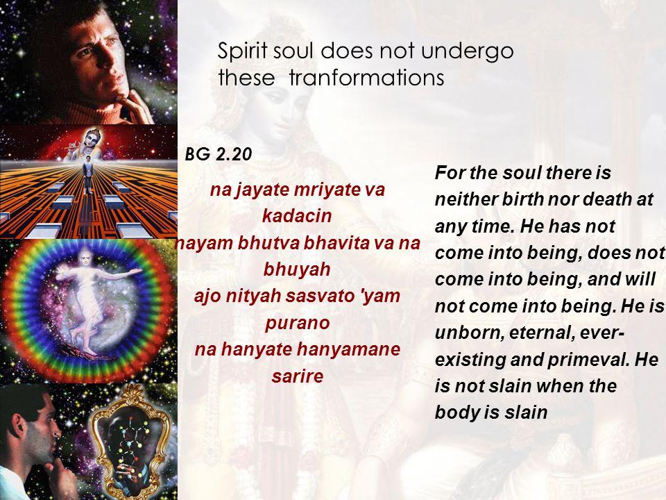 Spirit soul does not undergo these tranformations BG 2.20 na jayate mriyate va kadacin nayam bhutva bhavita va na bhuyah ajo nityah sasvato 'yam puran