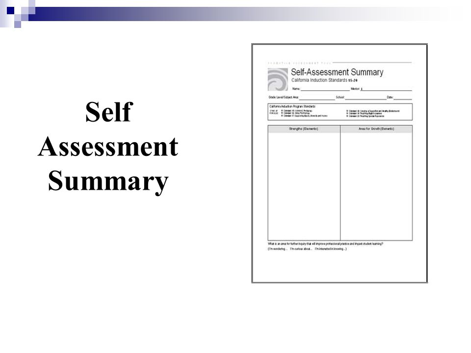 Self Assessment Summary