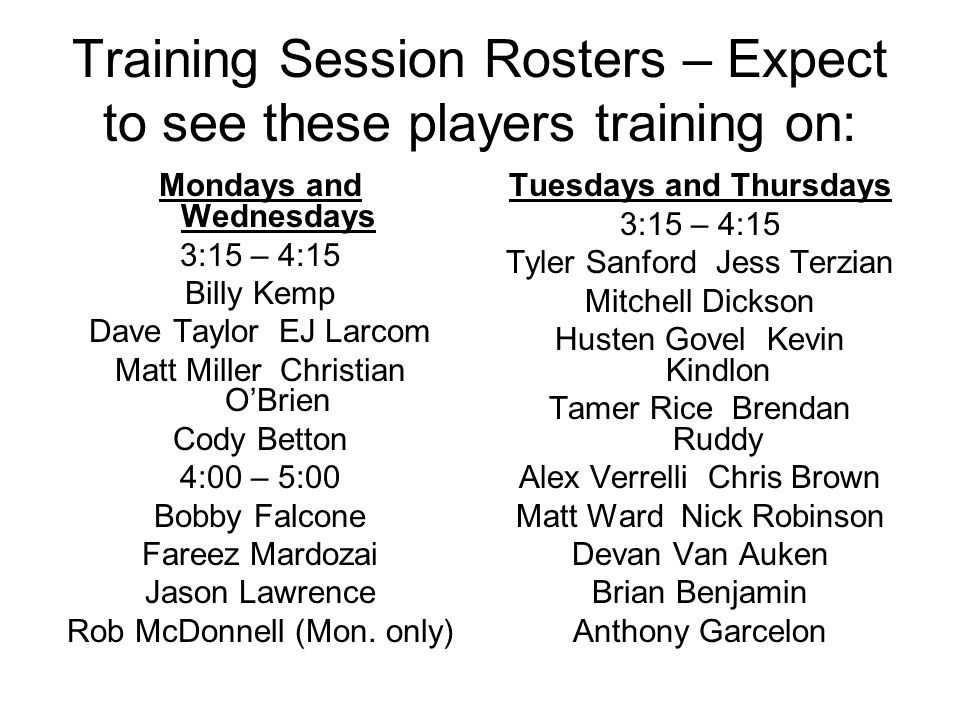 Training Session Rosters – Expect to see these players training on: Mondays and Wednesdays 3:15 – 4:15 Billy Kemp Dave Taylor EJ Larcom Matt Miller Christian OBrien Cody Betton 4:00 – 5:00 Bobby Falcone Fareez Mardozai Jason Lawrence Rob McDonnell (Mon.