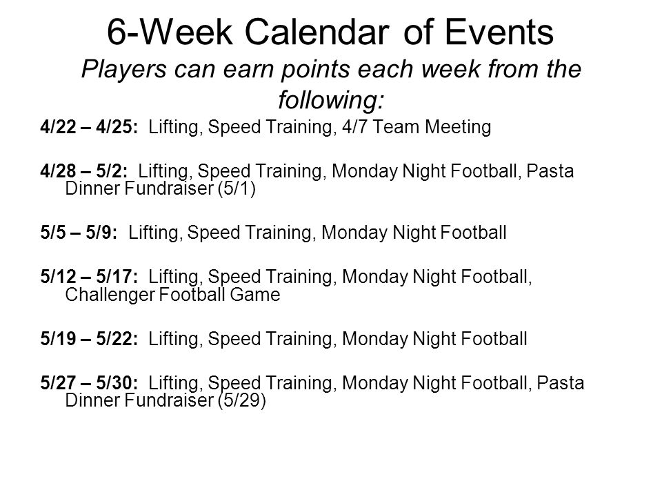6-Week Calendar of Events Players can earn points each week from the following: 4/22 – 4/25: Lifting, Speed Training, 4/7 Team Meeting 4/28 – 5/2: Lifting, Speed Training, Monday Night Football, Pasta Dinner Fundraiser (5/1) 5/5 – 5/9: Lifting, Speed Training, Monday Night Football 5/12 – 5/17: Lifting, Speed Training, Monday Night Football, Challenger Football Game 5/19 – 5/22: Lifting, Speed Training, Monday Night Football 5/27 – 5/30: Lifting, Speed Training, Monday Night Football, Pasta Dinner Fundraiser (5/29)