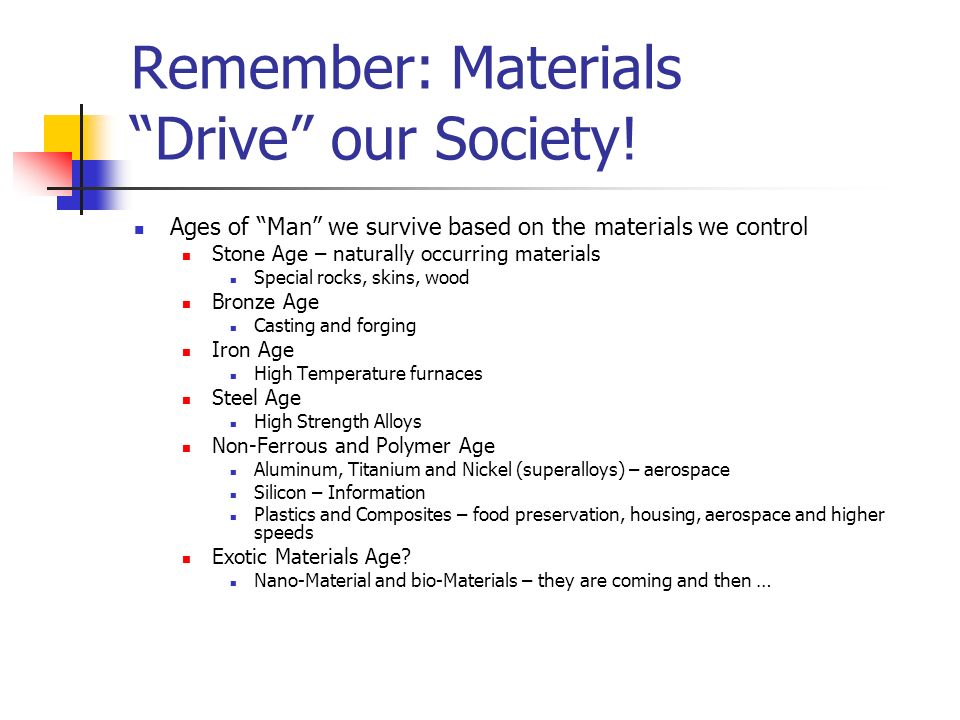 Remember: Materials Drive our Society! Ages of Man we survive based on the materials we control Stone Age – naturally occurring materials Special rock