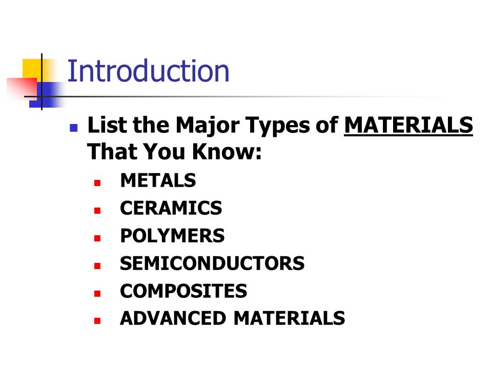 Introduction List the Major Types of MATERIALS That You Know: METALS CERAMICS POLYMERS SEMICONDUCTORS COMPOSITES ADVANCED MATERIALS