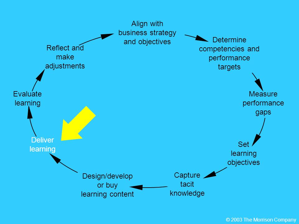 Deliver learning Determine competencies and performance targets Set learning objectives Align with business strategy and objectives Measure performance gaps Reflect and make adjustments Design/develop or buy learning content Capture tacit knowledge Evaluate learning © 2003 The Morrison Company