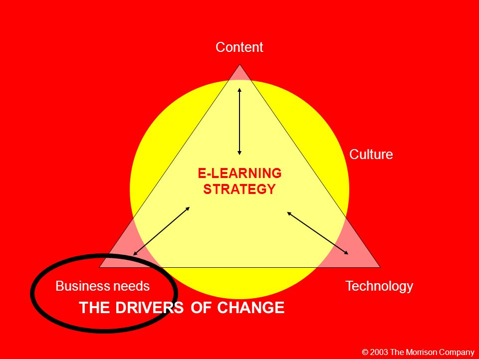 © 2003 The Morrison Company E-LEARNING STRATEGY Content TechnologyBusiness needs Culture THE DRIVERS OF CHANGE