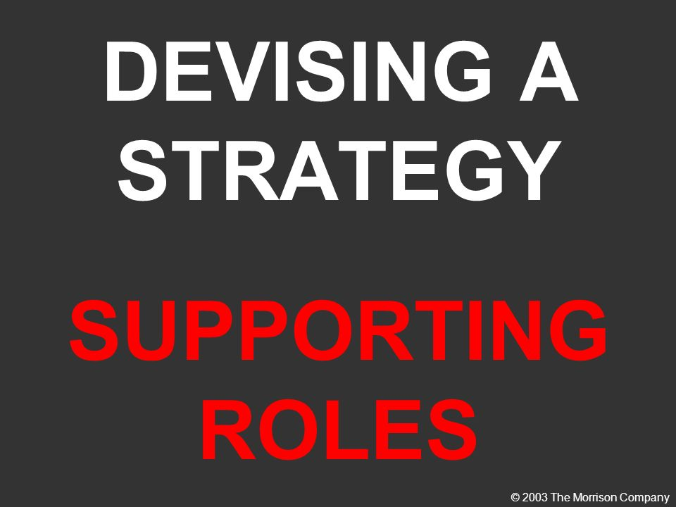 DEVISING A STRATEGY SUPPORTING ROLES © 2003 The Morrison Company