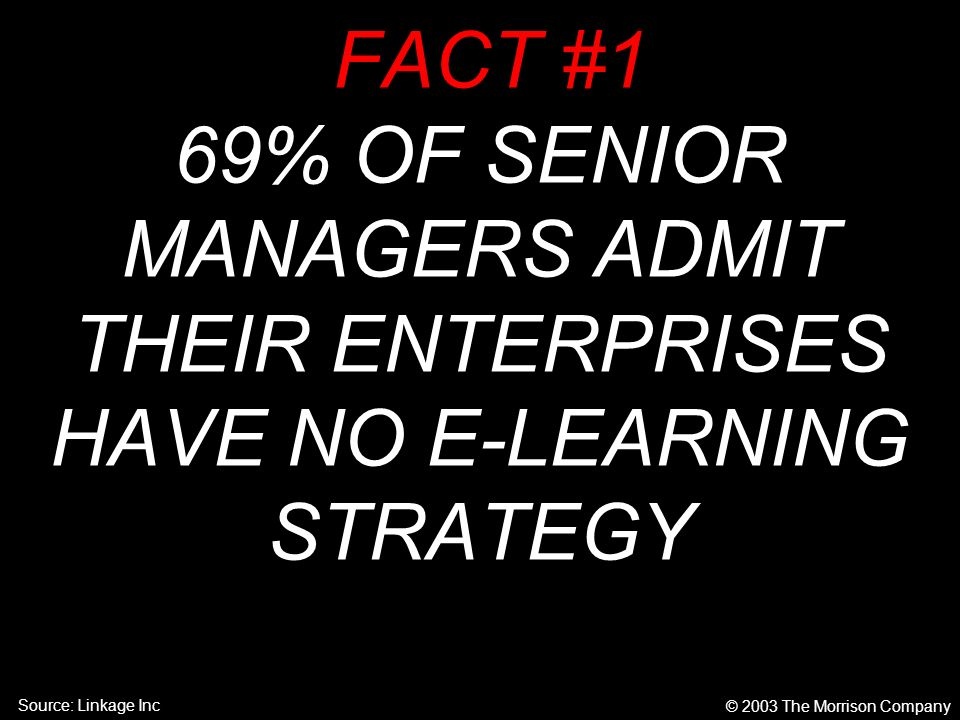 © 2003 The Morrison Company FACT #1 69% OF SENIOR MANAGERS ADMIT THEIR ENTERPRISES HAVE NO E-LEARNING STRATEGY Source: Linkage Inc