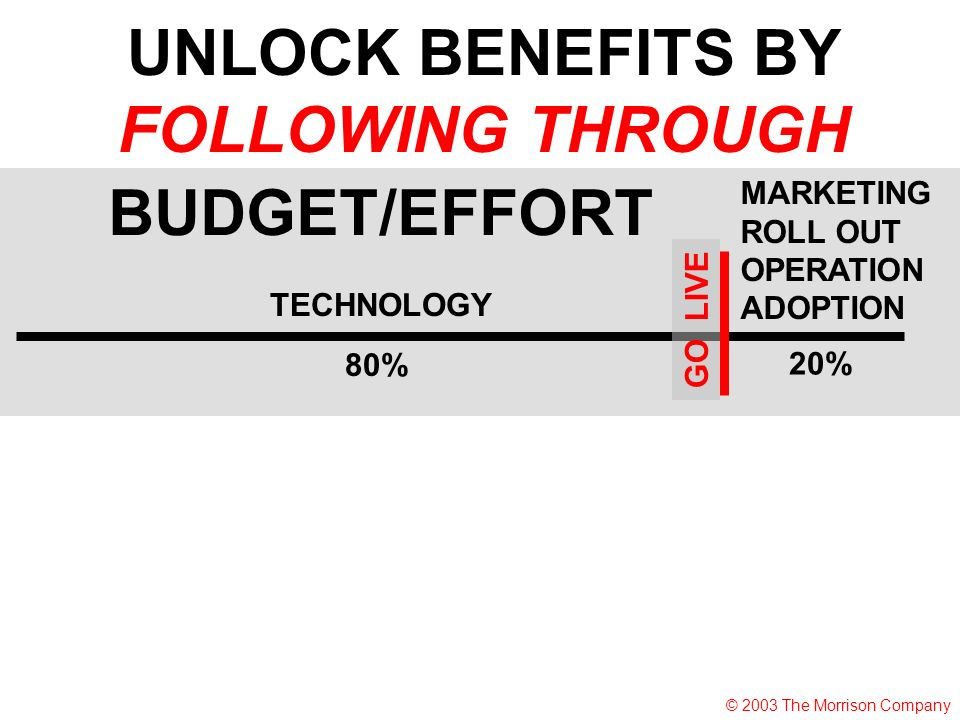 TECHNOLOGY MARKETING ROLL OUT OPERATION ADOPTION 80% 20% BUDGET/EFFORT UNLOCK BENEFITS BY FOLLOWING THROUGH GO LIVE © 2003 The Morrison Company