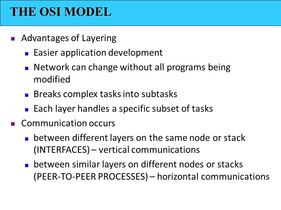 THE OSI MODEL Advantages of Layering Easier application development Network can change without all programs being modified Breaks complex tasks into subtasks Each layer handles a specific subset of tasks Communication occurs between different layers on the same node or stack (INTERFACES) – vertical communications between similar layers on different nodes or stacks (PEER-TO-PEER PROCESSES) – horizontal communications