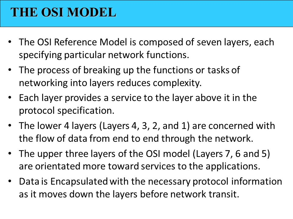 The OSI Reference Model is composed of seven layers, each specifying particular network functions.