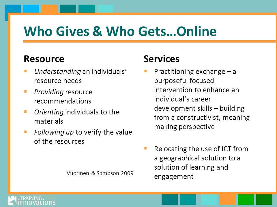 Who Gives & Who Gets…Online Resource Understanding an individuals resource needs Providing resource recommendations Orienting individuals to the materials Following up to verify the value of the resources Vuorinen & Sampson 2009 Services Practitioning exchange – a purposeful focused intervention to enhance an individuals career development skills – building from a constructivist, meaning making perspective Relocating the use of ICT from a geographical solution to a solution of learning and engagement