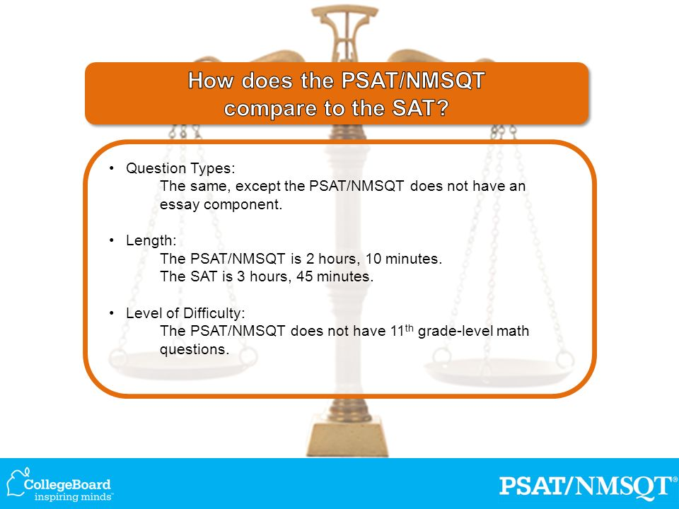 Question Types: The same, except the PSAT/NMSQT does not have an essay component.