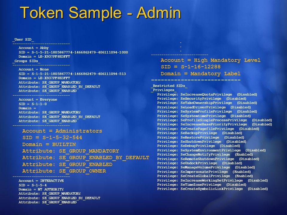 Token Sample - Admin _User SID_ --------------------------- Account = Abby SID = S-1-5-21-1805867774-1466862479-406111094-1000 Domain = LH-X937PF8H3FF