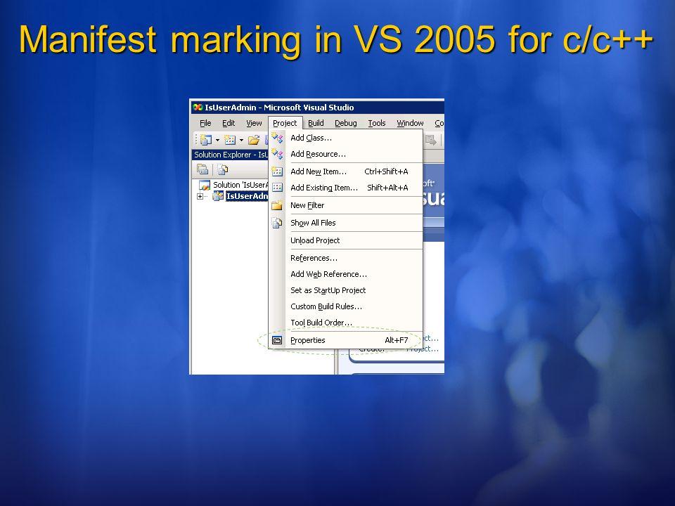 Manifest marking in VS 2005 for c/c++