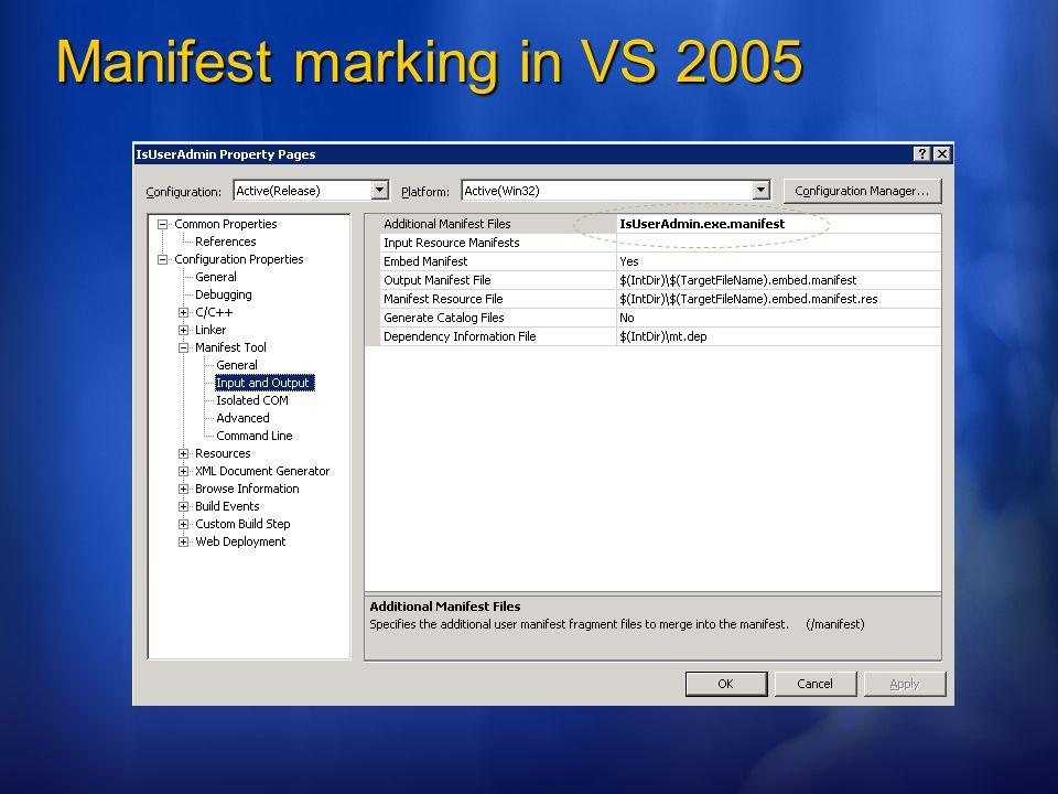 Manifest marking in VS 2005