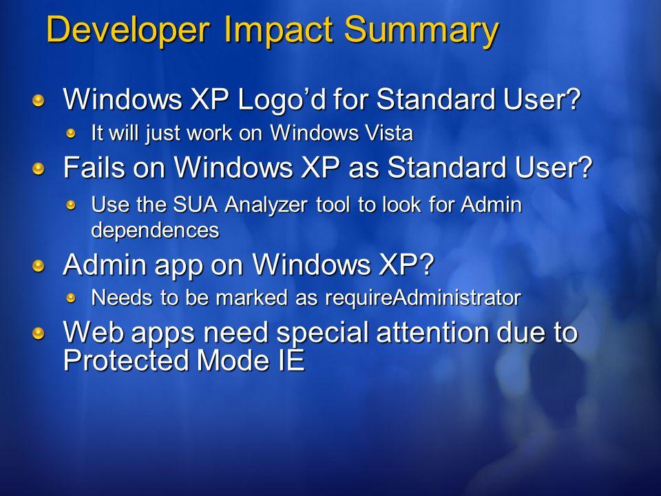Developer Impact Summary Windows XP Logod for Standard User? It will just work on Windows Vista Fails on Windows XP as Standard User? Use the SUA Anal