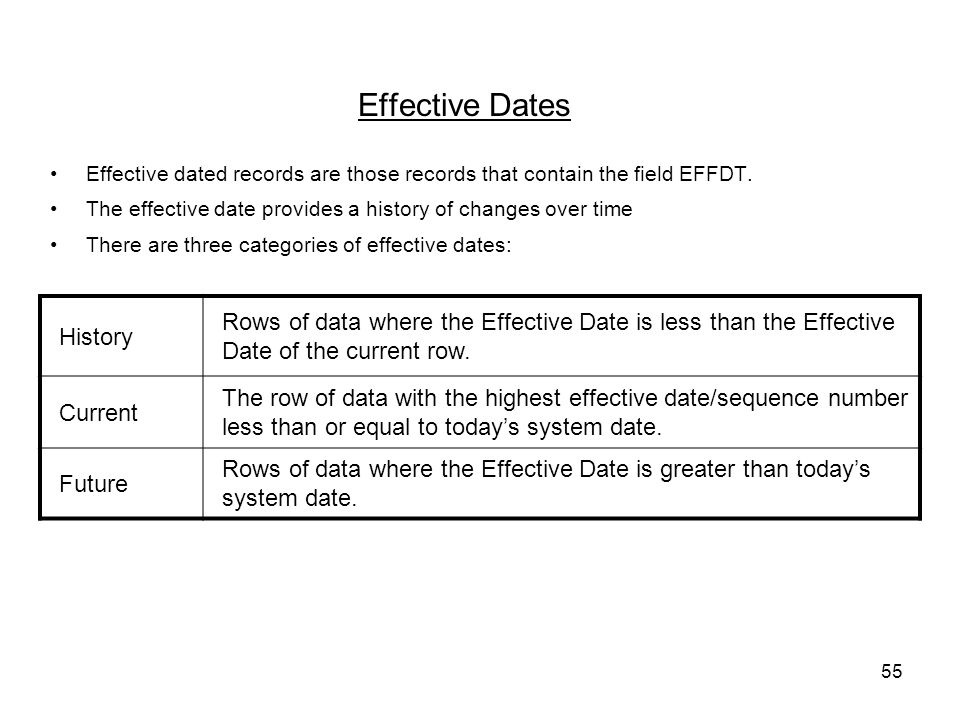 55 Effective Dates Effective dated records are those records that contain the field EFFDT.