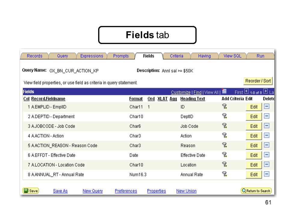 61 Fields tab