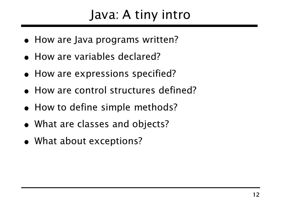 11 The Java programming environment Java programming language specification Syntax of Java programs Defines different constructs and their semantics J