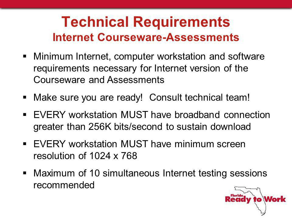 Technical Requirements Internet Courseware-Assessments Minimum Internet, computer workstation and software requirements necessary for Internet version of the Courseware and Assessments Make sure you are ready.