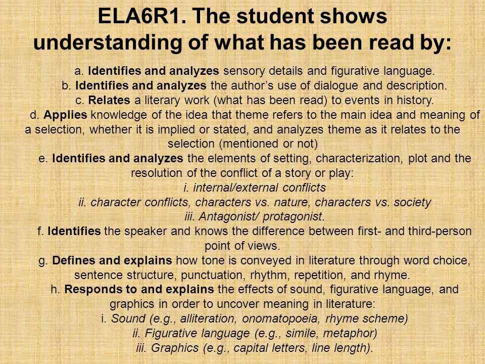 a. Identifies and analyzes sensory details and figurative language. b. Identifies and analyzes the authors use of dialogue and description. c. Relates