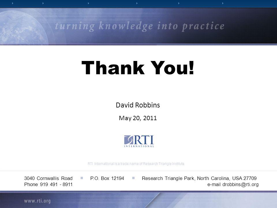 RTI International is a trade name of Research Triangle Institute 3040 Cornwallis Road P.O. Box 12194 Research Triangle Park, North Carolina, USA 27709