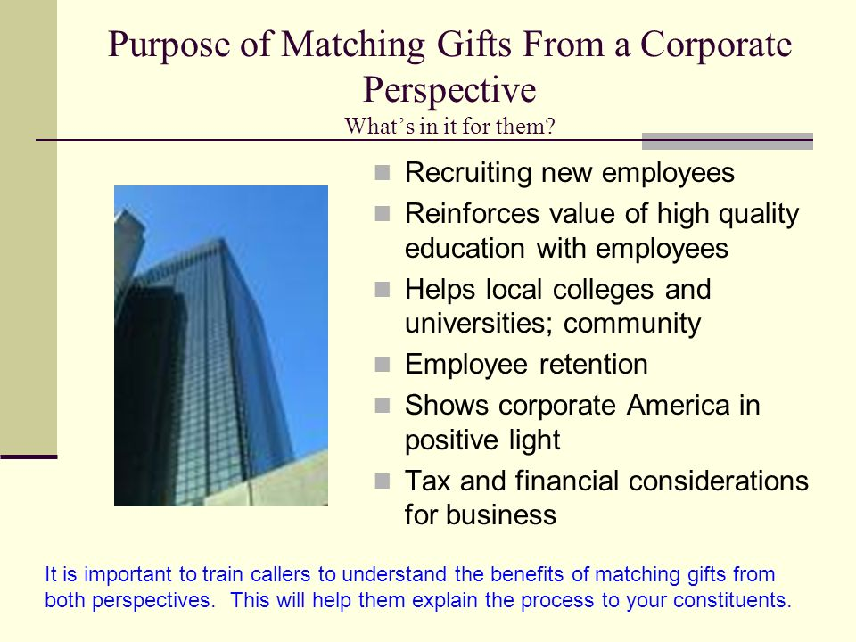 Purpose of Matching Gifts From a Corporate Perspective Whats in it for them.