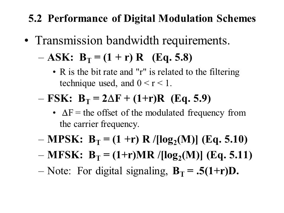 5.2 Performance of Digital Modulation Schemes Transmission bandwidth requirements. –ASK: B T = (1 + r) R (Eq. 5.8) R is the bit rate and
