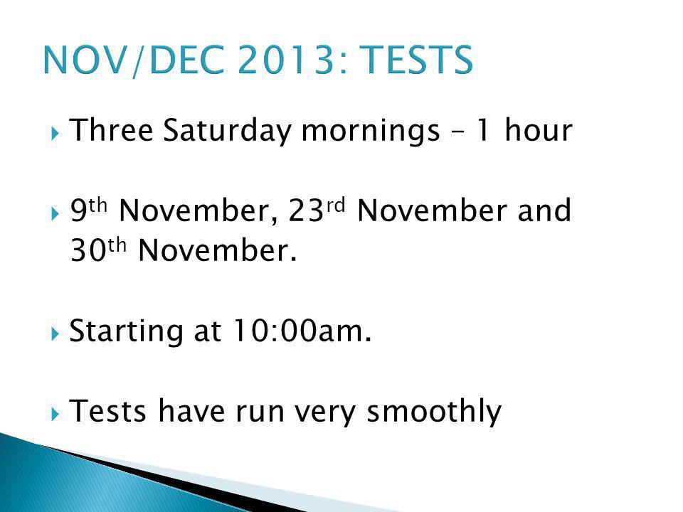 NOV/DEC 2013: TESTS Three Saturday mornings – 1 hour 9 th November, 23 rd November and 30 th November. Starting at 10:00am. Tests have run very smooth