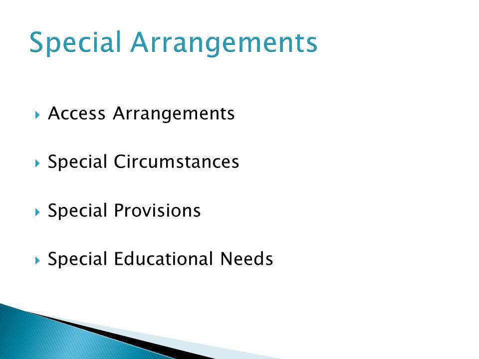Access Arrangements Special Circumstances Special Provisions Special Educational Needs