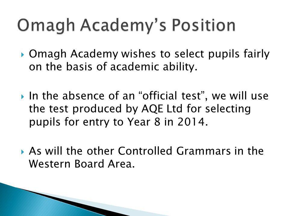 Omagh Academy wishes to select pupils fairly on the basis of academic ability. In the absence of an official test, we will use the test produced by AQ