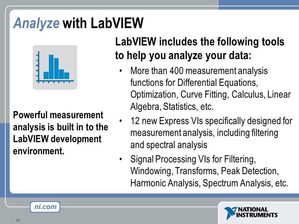 10 Analyze with LabVIEW LabVIEW includes the following tools to help you analyze your data: More than 400 measurement analysis functions for Different