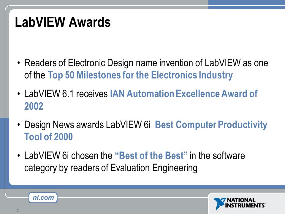 3 Readers of Electronic Design name invention of LabVIEW as one of the Top 50 Milestones for the Electronics Industry LabVIEW 6.1 receives IAN Automat