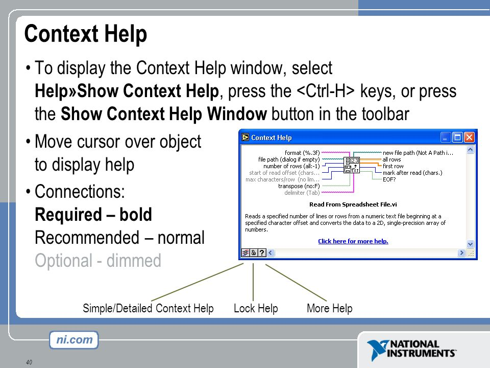 40 Context Help To display the Context Help window, select Help»Show Context Help, press the keys, or press the Show Context Help Window button in the