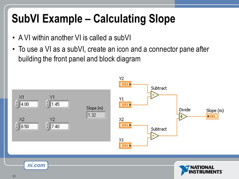 53 SubVI Example – Calculating Slope A VI within another VI is called a subVI To use a VI as a subVI, create an icon and a connector pane after buildi