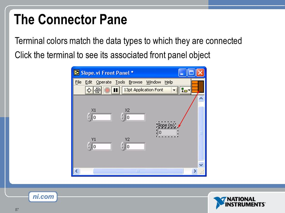 57 The Connector Pane Terminal colors match the data types to which they are connected Click the terminal to see its associated front panel object