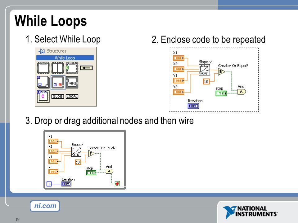64 While Loops 1. Select While Loop 2. Enclose code to be repeated 3. Drop or drag additional nodes and then wire