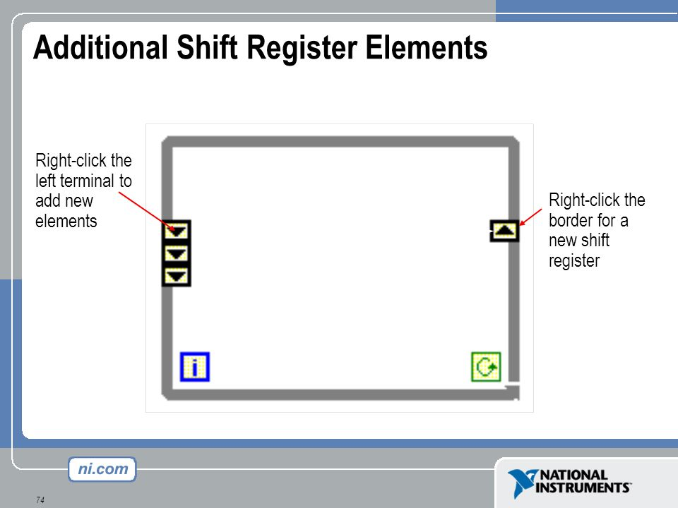 74 Additional Shift Register Elements Latest value is passed to right terminal Right-click the left terminal to add new elements Previous values are a
