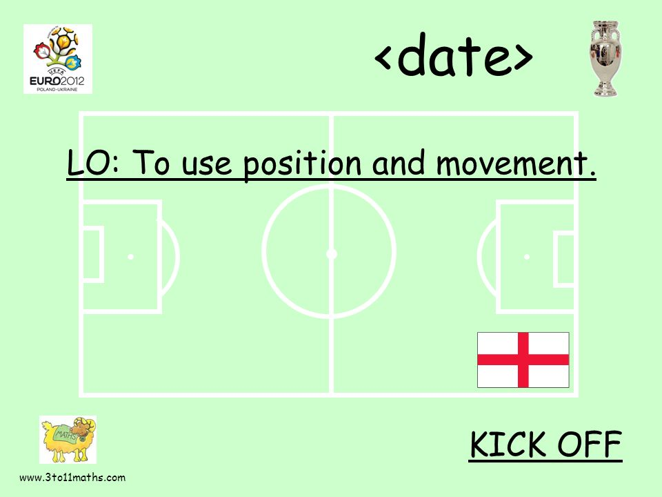 www.3to11maths.com LO: To use position and movement. KICK OFF