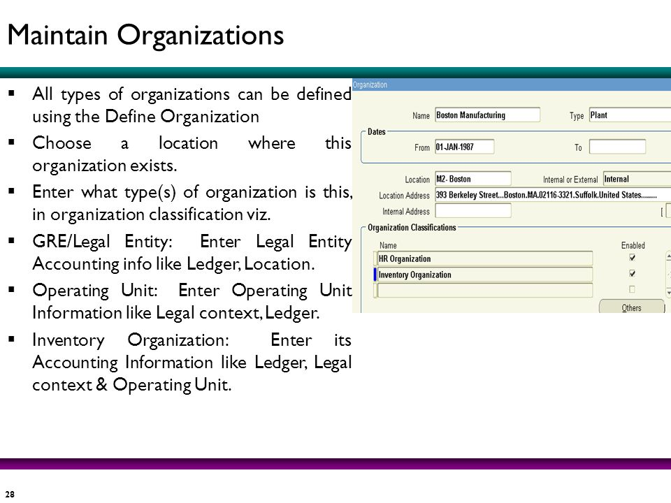 28 All types of organizations can be defined using the Define Organization Choose a location where this organization exists. Enter what type(s) of org