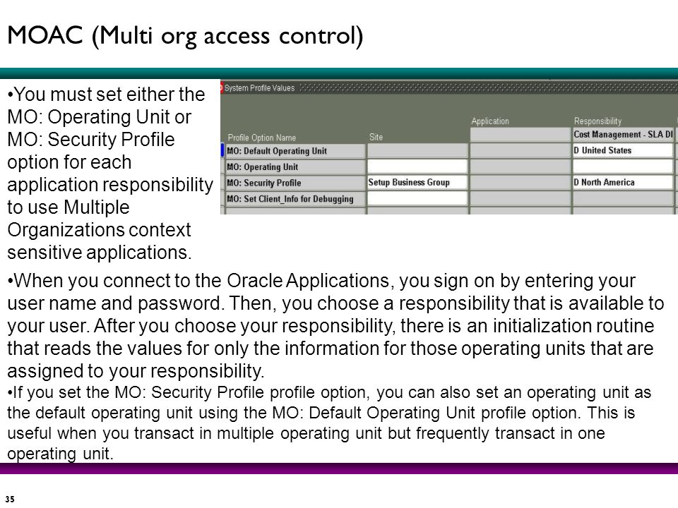35 You must set either the MO: Operating Unit or MO: Security Profile option for each application responsibility to use Multiple Organizations context