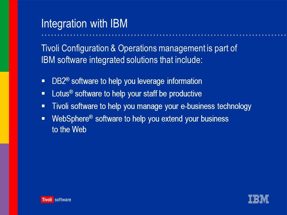 Integration with IBM DB2 ® software to help you leverage information Lotus ® software to help your staff be productive Tivoli software to help you manage your e-business technology WebSphere ® software to help you extend your business to the Web Tivoli Configuration & Operations management is part of IBM software integrated solutions that include: