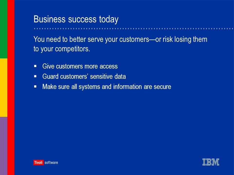 Business success today Give customers more access Guard customers sensitive data Make sure all systems and information are secure You need to better serve your customersor risk losing them to your competitors.