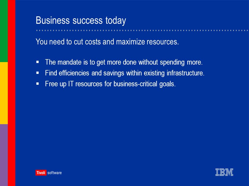 Business success today The mandate is to get more done without spending more.