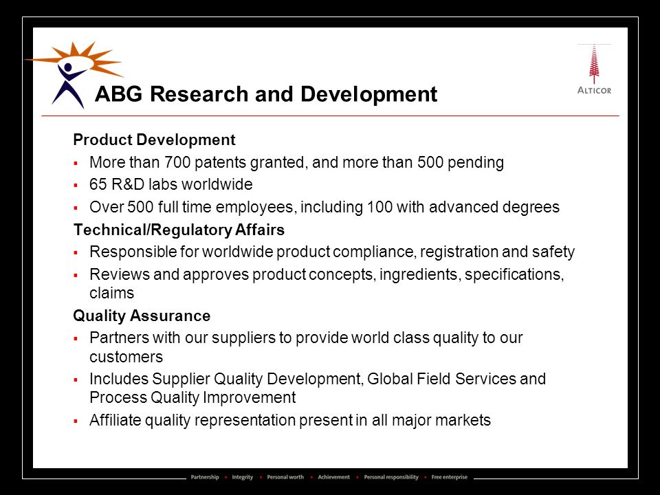 ABG Research and Development Product Development More than 700 patents granted, and more than 500 pending 65 R&D labs worldwide Over 500 full time emp