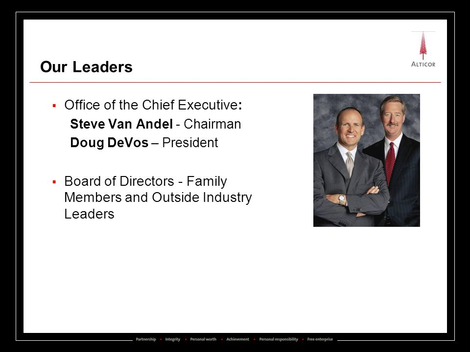 Our Leaders Office of the Chief Executive: Steve Van Andel - Chairman Doug DeVos – President Board of Directors - Family Members and Outside Industry